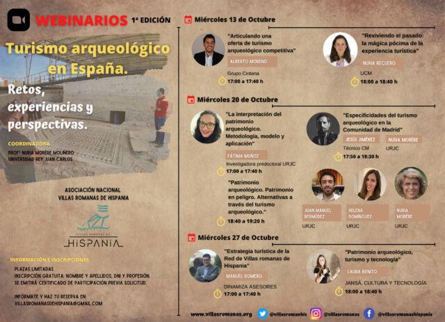 Cartel Webinar Turismo arqueológico en España.